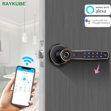 Lock Fingerprint Gateway RAYKUBE Wifi Alexa Bluetooth Electronic-Door Google Support