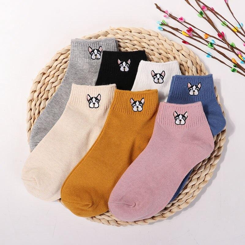 3 Pairs Nette Cartoon frauen Reine Baumwolle Socken Modische Damen Komfortable Tier Stickerei Frische Harajuku Weiche Socken