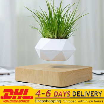 Floating Geometric Magnetic Levitating Flower Pot Bonsai Creative Humidifier Self Watering Planter Home Office Desk Decor DHL 1