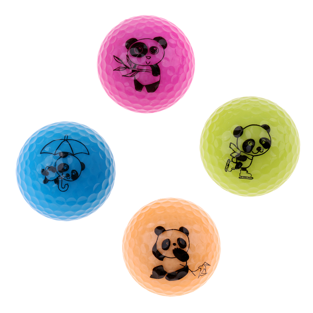 Set Of 4 Professional Double Layer Practice Golf Ball, Flexible Synthetic Rubber Distance Golf Ball, With Cute Panda Printed