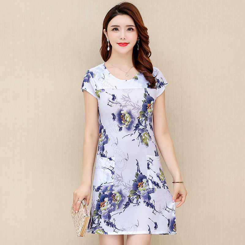 2019 Summer Round Neck Short-sleeved Milk Silk sundress Loose Large Size Middle-aged Women's Dress Sexy Slim Printed Dresses