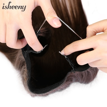 Isheeny 14 #8243 -22 #8243 Halo Hair Extensions Straight Remy Human Hair Invisible Crown Fish Line Wire in Hair Extensions Hairpieces tanie i dobre opinie CN (pochodzenie) Włosy remy