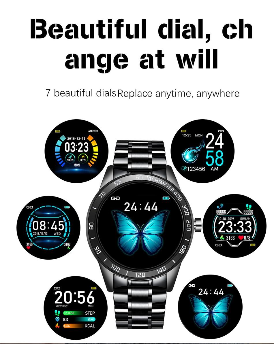 H39705e594c074e49b0764e813ba4f863d LIGE Steel Band Smart Watch Men Heart Rate Blood Pressure Monitor Sport Multifunction Mode Fitness Tracker Waterproof Smartwatch