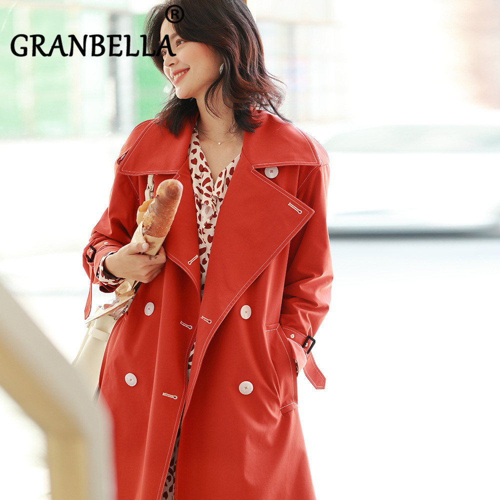 Double Breasted Loose Temperament Windbreaker Female With Belt Turn-Down Collar Women   Trench   Loose Office Lady