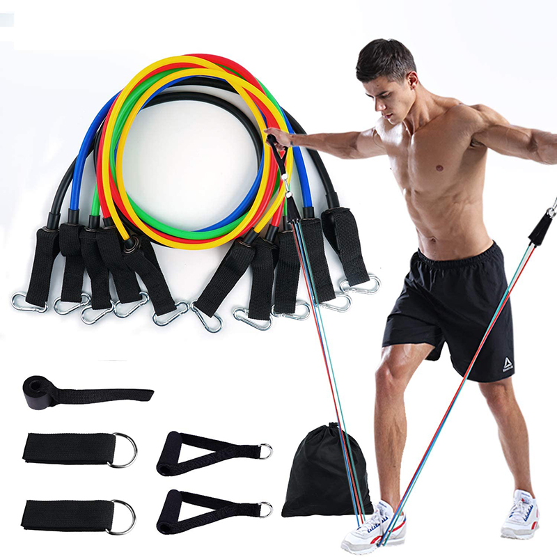 Resistance Band Set 11-piece Tension Band 150 Pounds Resistance Rope Body Workout Yoga Fitness Exercise Muscle Training