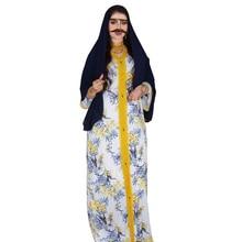 2021 Summer Arabic Long Sleeve Dress Ramadan White Flora Fancy Abayas Islam Veiled Women Prayer Clothes Muslim Dubai Robe Dress