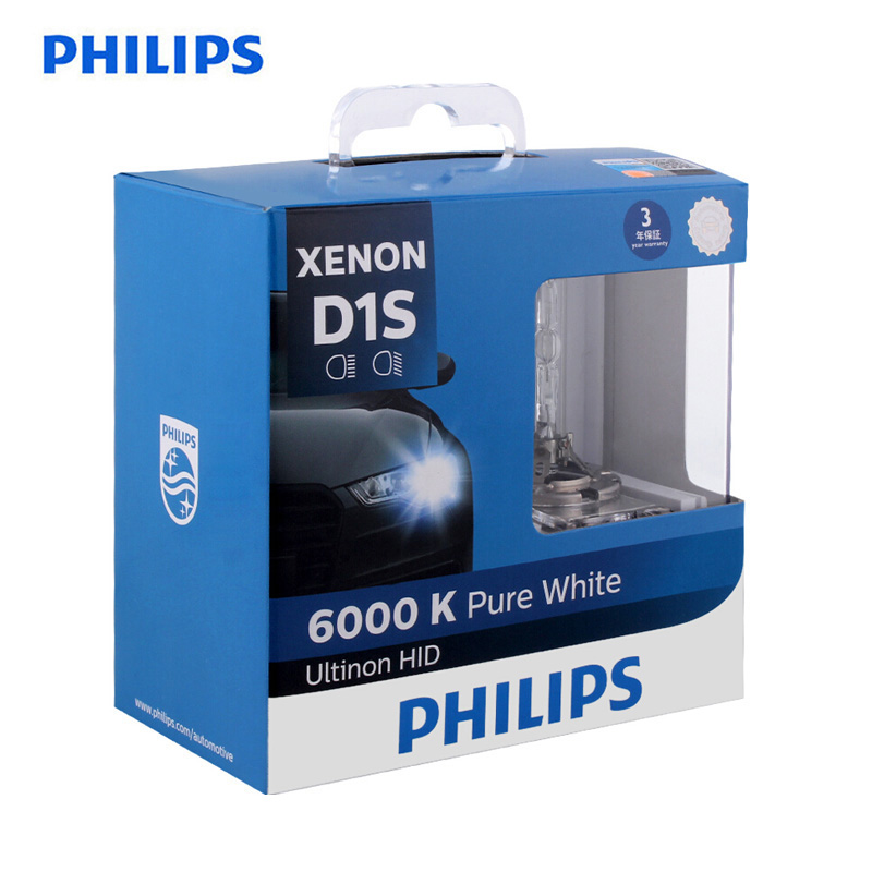 Philips HID 6000K D1S D2S D2R D3S D4S Ultinon  Cool Blue Xenon White Light Car Upgrade Headlight Bulbs Flash Quick Start, Pair