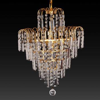 Honhill Chandelier Lighting Crystal Glass Light Droplet Modern Luxury 4 Lamp Waterfall Hanging Lighting For Living Room Hotel