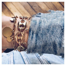 WUKALO New 30 Styles Gold Color 3pcs/set Punk Vintage Coin Pendant Bracelets Set for Woman
