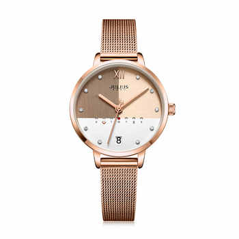 Julius Uhr Edelstahl Mesh Band Elegante frauen Business Uhr Mit Kalender Tag Rose Gold Multi Farbe Zifferblatt Uhr JA-1100