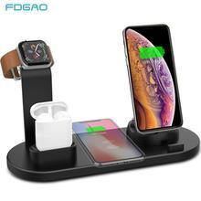 FDGAO 4 in 1 무선 충전 스탠드 Apple Watch 6 5 4 3 iPhone 12 11 X XS XR 8 Airpods Pro 10W Qi 고속 충전기 독 스테이션