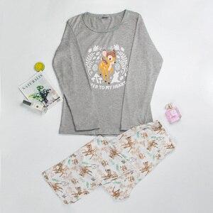 Image 3 - Mukatuパジャマ女性のコットンパジャマ綿 100% パジャマセット女性秋プリントかわいい 2 個セットパジャマセット