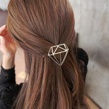 Diadema con forma de diamante a la moda para niñas, horquillas simples para el cabello, horquillas para el cabello de Clip LATERAL a la moda, accesorios para el cabello para mujeres y niñas