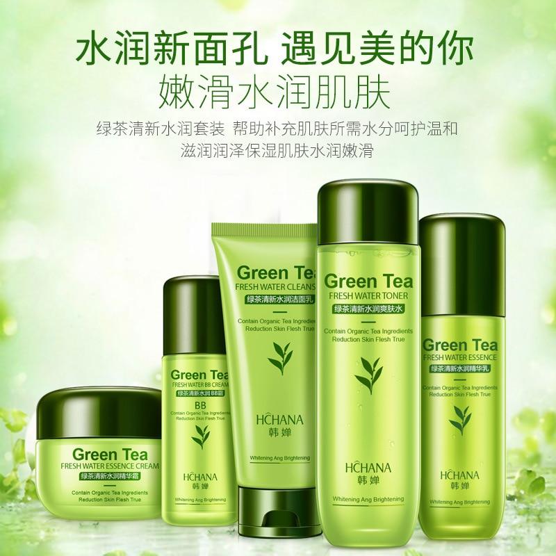 Green Tea Skin Care Sets Korean Cosmetic Whitening Hydrating Deep Moisturizing Nourishing Firming Skin Face Care