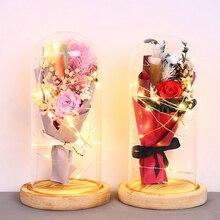 LED Glass Dome Light Rose LED Night Light Eternal Life Flower Glass Cover Beauty and Beast Rose LED Battery Lamp Rose In Flask rose flower wooden photo frame led table night light