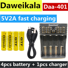 4 szt. 18650 bateria 3.7V 9900mAh akumulator liion akumulator z ładowarką do latarki Led batery litio bateria + 1 szt. Ładowarka