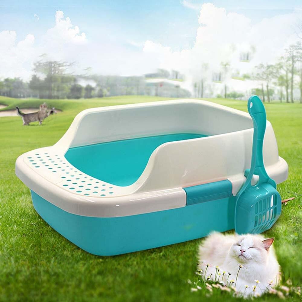 1pc Semi-closed Pet Cat Litter Sand Box Plastic Anti-Splash Reusable Cat Tray Bedpans Pet Toilet Cleaning Supplies Cat toilet