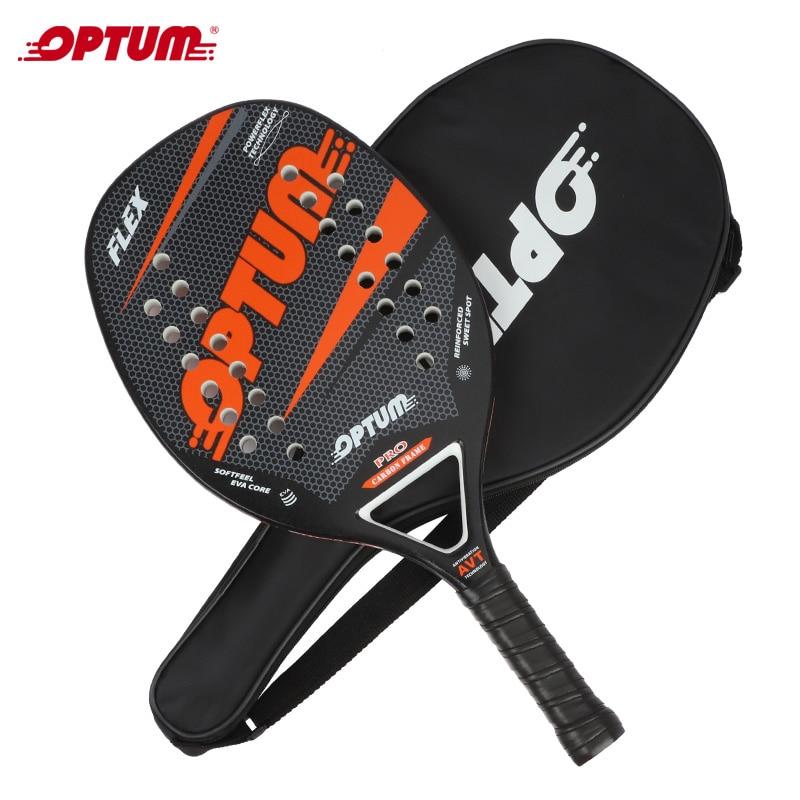 OPTUM FLEX Beach Tennis Racket,Carbon Fiber Grit Face With EVA Memory Foam Core Beach Tennis Racket With Cover Bag
