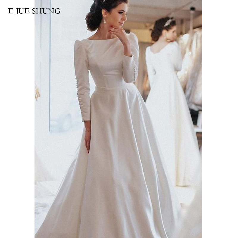 E JUE SHUNG White Satin Modest Wedding Dresses A-line Long Sleeves Wedding Gowns Bride Dresses