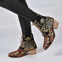 цены Women Casual Stacked High Heels Embroidery Flower Lace Up Ankle Boots Shoes Female Ladies Ankle Booties Silk Satin Footwear Boot