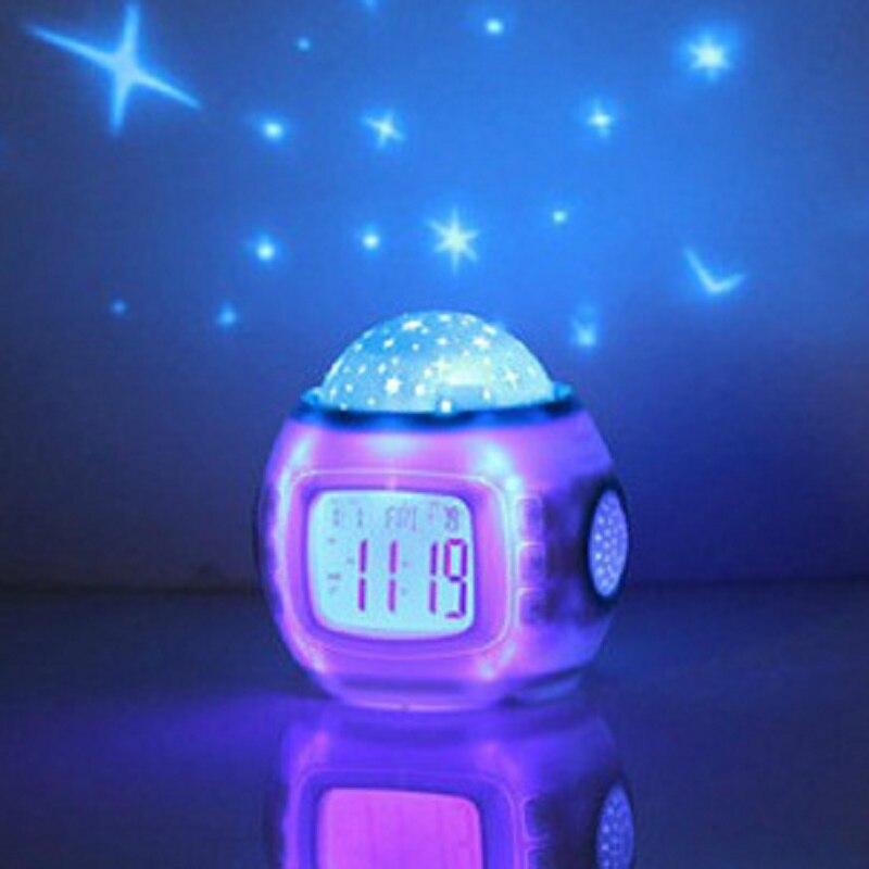 Children Gifts Music Starry Star Snooze Digital Led Projector Alarm Clock Calendar Thermometer Relogio De Mesa Despertador