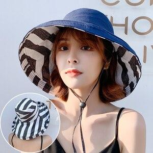 Image 5 - Zebra çizgili güneş şapkası yaz kadın çift taraflı katlanabilir pamuk keten güneş plaj şapkaları büyük geniş Brim güneş koruyucu kadın kova şapka