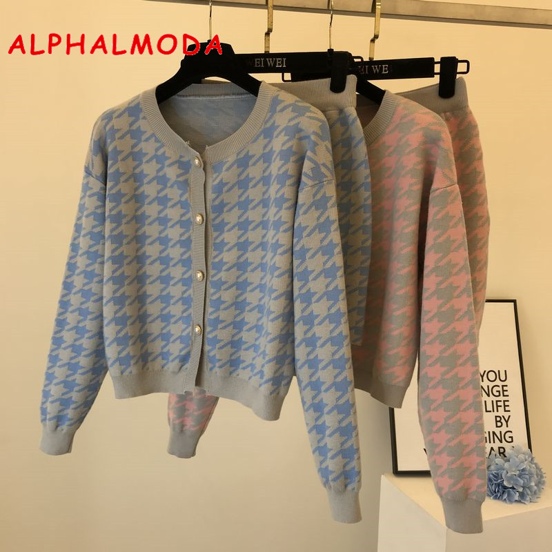 ALPHALMODA Women Cardigans And Skirts Fashion Houndstooth Knitting 2pcs Suit Long-sleeved Sweater Outfit Mini Skirt 2pcs Set