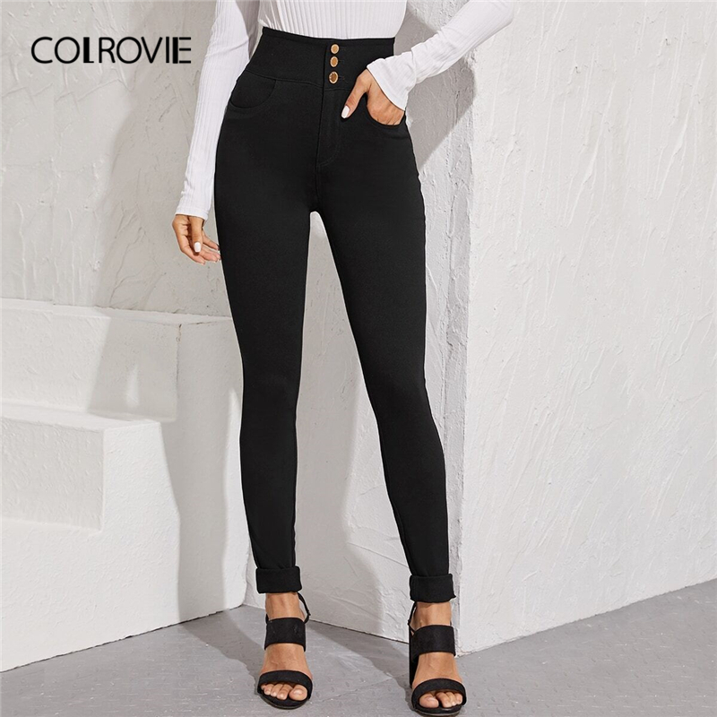 COLROVIE Black Wash High Waist Skinny Jeans Women 2019 Fall Streetwear Button Front Jeans Female Solid Casual Long Denim Pants