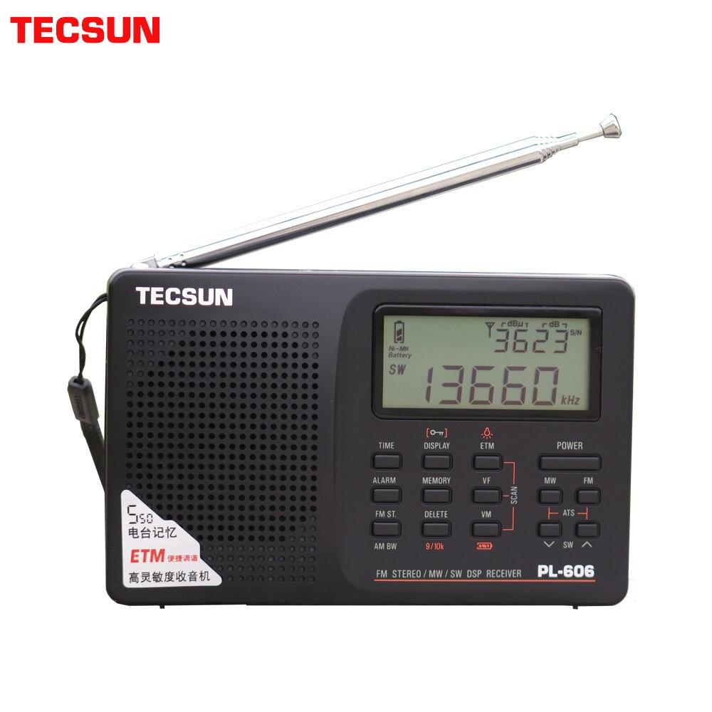 Tecsun PL 606 Digital PLL Portable Radio FM Stereo/LW/SW/MW DSP Receiver Black-in Radio from Consumer Electronics