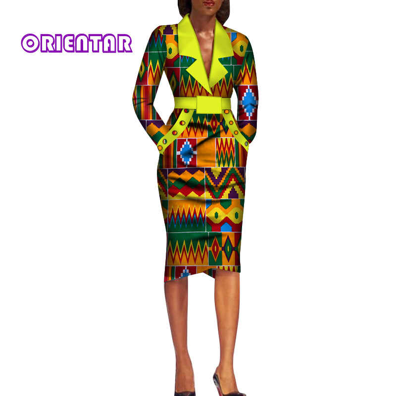 Autumn African Clothes for Women Long Sleeve V-Neck Office Dress African Print Cotton Lady Bodycon African Dresses WY286