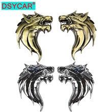 DSYCAR – autocollant tête de loup en métal 3D 2 pièces/paire, Logo emblème de décoration de voiture moto Auto (gauche + droite)
