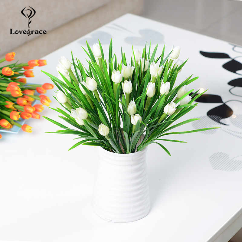 Lovegrace Mini Bouquet Tulip Artificial Flower Plastic Fake Tulip White Flower Arrangement Diy Home Party Wedding Table Decor Aliexpress