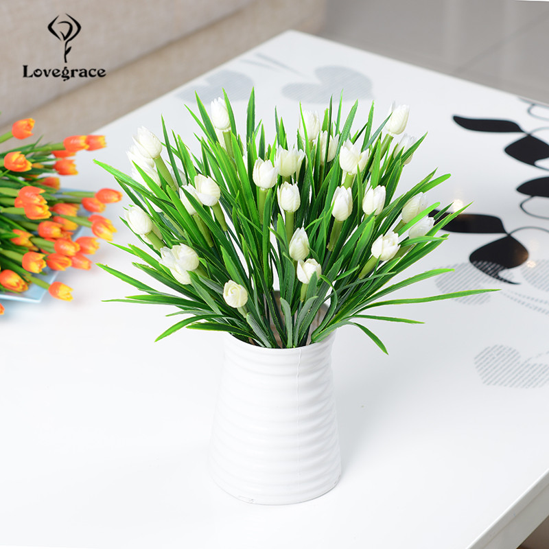 Lovegrace Mini Bouquet Tulip Artificial Flower Plastic Fake Tulip White Flower Arrangement DIY Home Party Wedding Table Decor