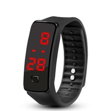 LED Silicone Wristband Bracelet Lightweight Soft Fashion Fitness Sports Band Watch for Men Women