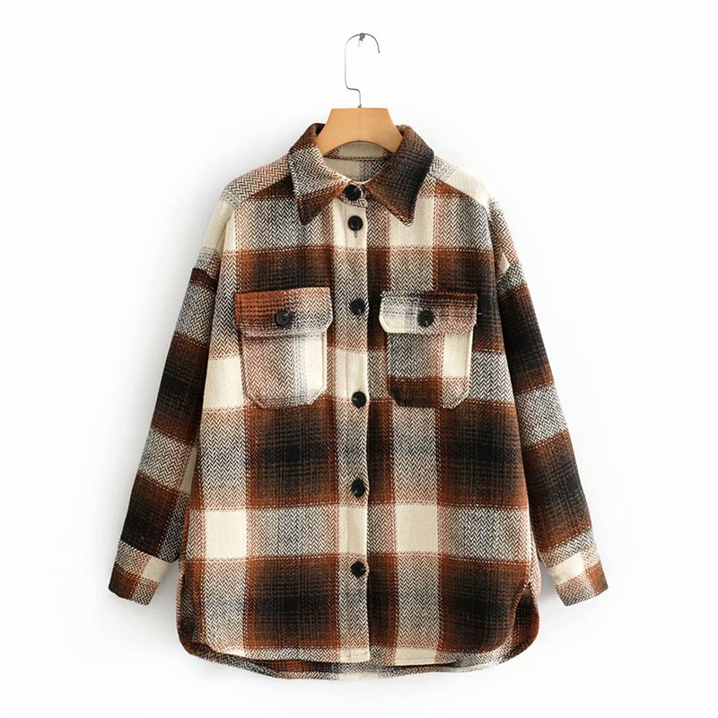 Jackets <font><b>Coats</b></font> Fall 2019 Oversized Jacket Color <font><b>Block</b></font> Plaid Jacket Ladies Streetwear Vintage Autumn Casual Jacket Women Overcoat image