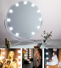 Makeup Vanity Mirror with Light Hollywood Style Touch Screen Cosmetic Mirror with Dimmable LED Bulbs 3 Color Lighting Round frameless vanity mirror with light hollywood makeup lighted mirror 3color light cosmetic mirror adjustable touch screen 58 46cm