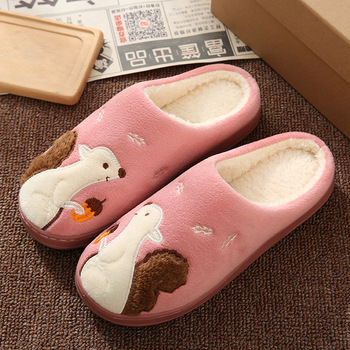 Cute Squirrel Women Winter Home Slippers Cartoon Animal Soft Winter Warm House Shoes Men Women Girl Boys Indoor Bedroom Slippers 4
