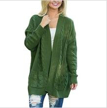 Women's cardigan 2020 new spring and autumn winter new popular sweater women's sweater medium double pocket twist