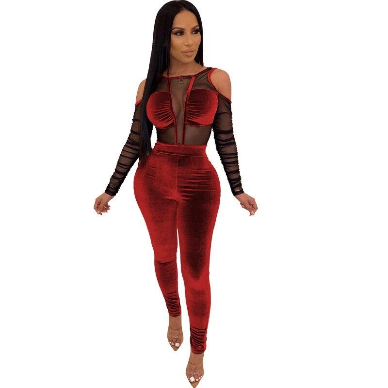 Women Long Sleeve Cute Print Mesh Sheer Bodycon Club Party Casual Short Jumpsuit