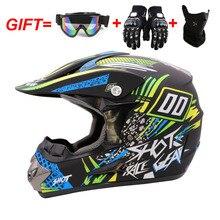Модные мотоциклетные внедорожные шлемы для квадроциклов, мотокросса, шлем Mtb для спуска на гору, Полный лицевой шлем,, 3 подарка, очки, перчатки, маска