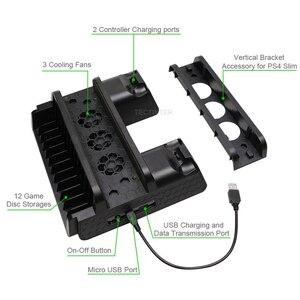 Image 5 - Per PS4/PS4 Slim/PS4 Pro supporto verticale con ventola di raffreddamento caricatore doppio Controller stazione di ricarica per SONY Playstation 4 Cooler