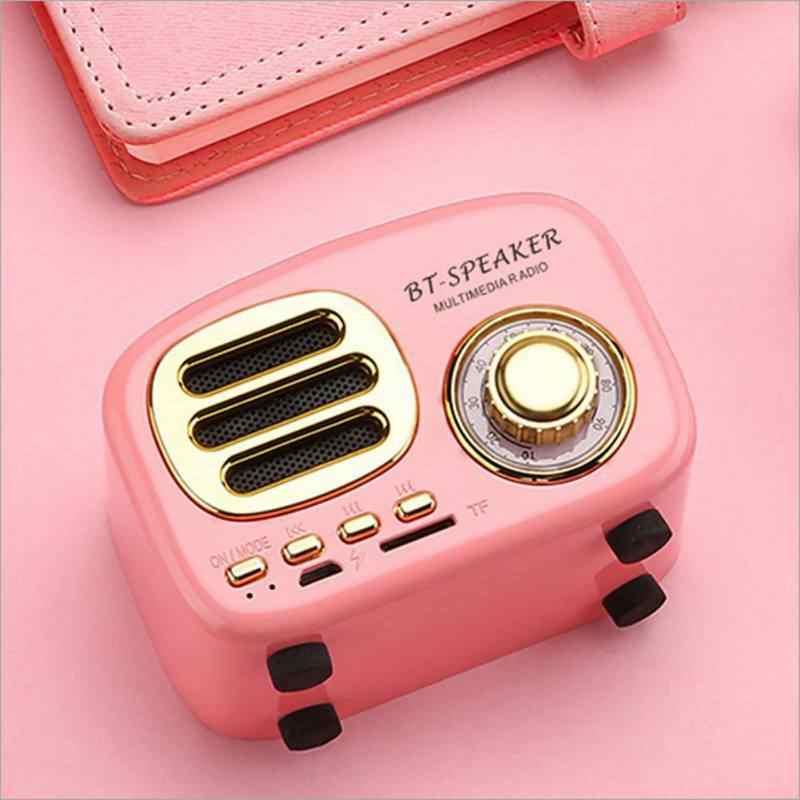Portátil Mini Alto-falantes de ALTA FIDELIDADE do Bluetooth Retro Som MP3 Music Player Suporte 32G Cartão TF AUX com Microfone HD para smartphones PC
