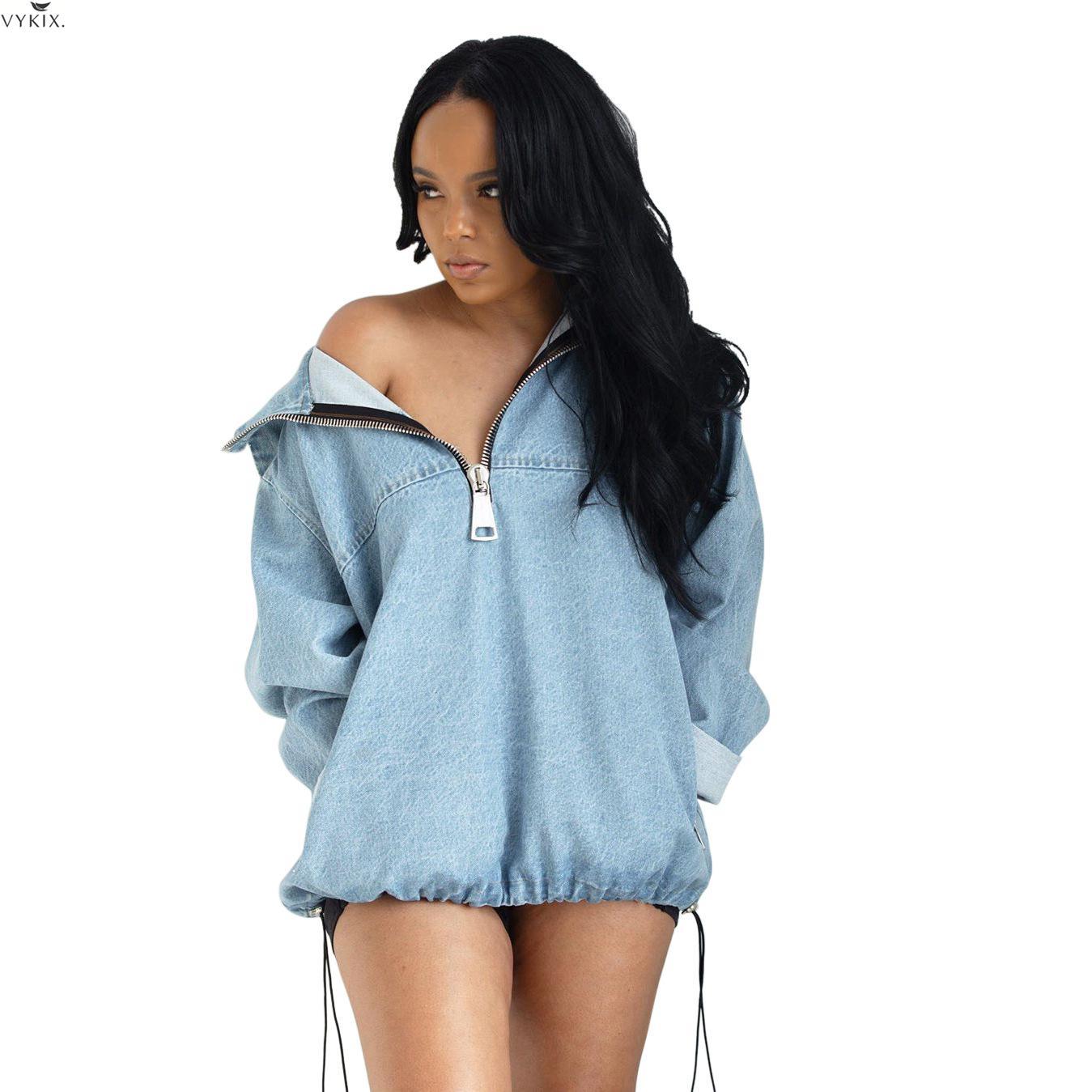 Зимние сексуальные платья на молнии с отложным воротником, джинсовое платье с длинным рукавом, макси пуловеры, джинсовые толстовки с капюшо