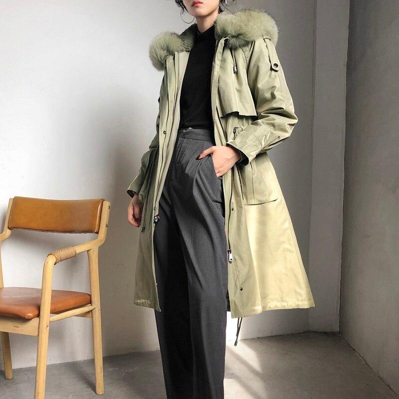 OFTBUY 2019 New Waterproof Real Fur Coat Winter Jacket Women Natural Fox Fur Collar Hood Real Rabbit Fur Lining Removable Slim