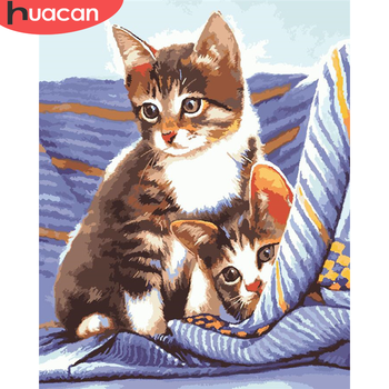 HUACAN Paint By Number Cat Drawing On Canvas Hand Painted Painting Art Gift DIY Pictures By Numbers Animal Kits Home Decor