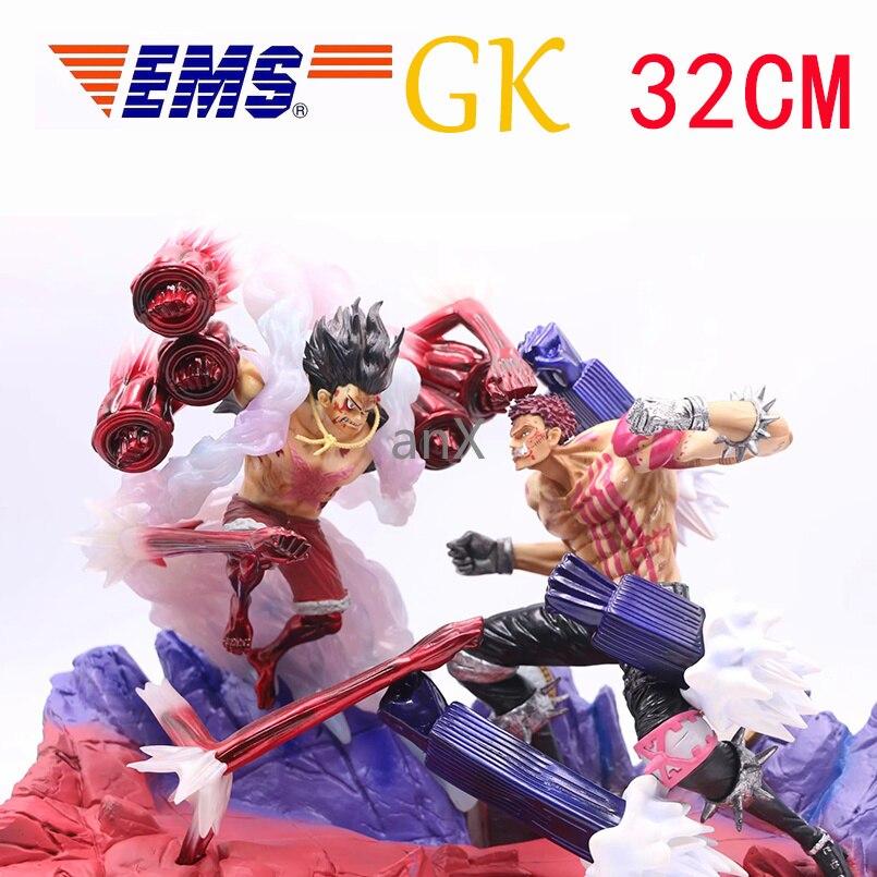 32CM Charlotte Katakuri Monkey D Luffy Figurine GK Gear fourth Luffy VS Katakuri Action Figure One Piece Collectible Model Toy
