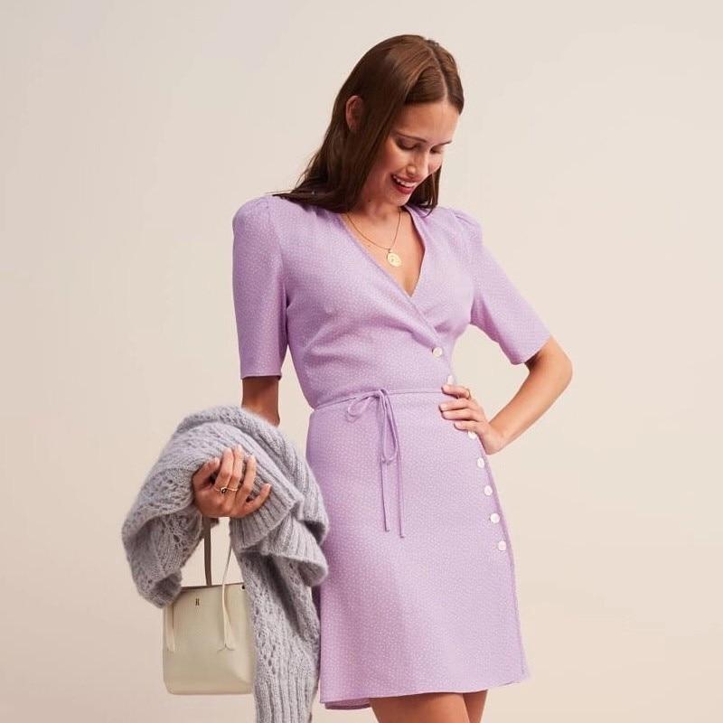 Women V Neckline Short Sleeves Gabin Wrap Dress Polka Dot Print Purple Mini Dress Robe Gabin