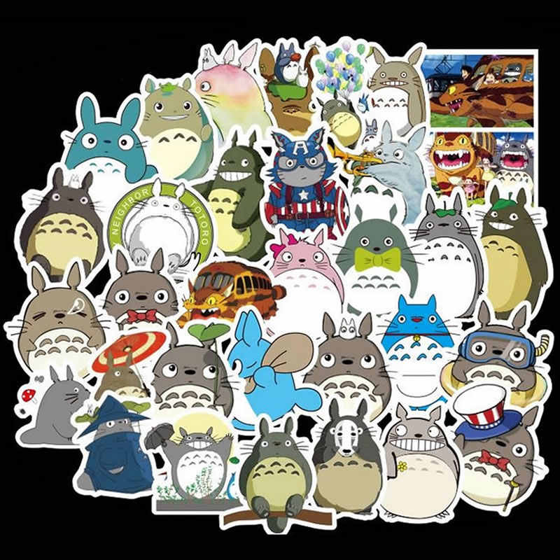 50 unids/pack Kawaii Totoro pegatinas impermeables de dibujos animados niños maleta guitarra Skateboard motocicleta pegatina de Graffiti niños juguete