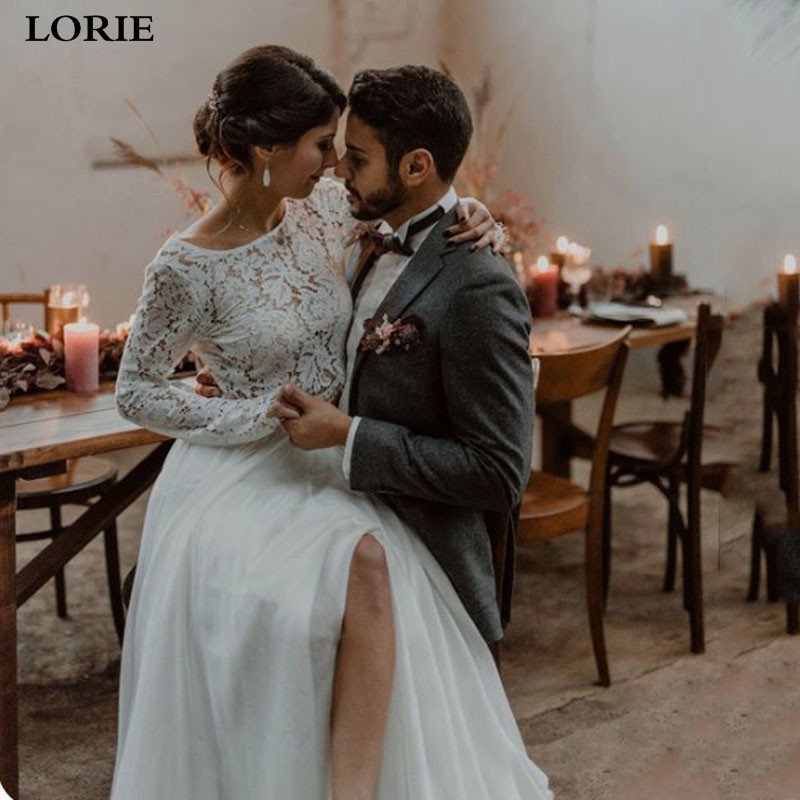 LORIE Boho Wedding Dresses Long Sleeve 2 Pieces Lace Bride Dress A-Line Open Back Wedding Gown Custom Made