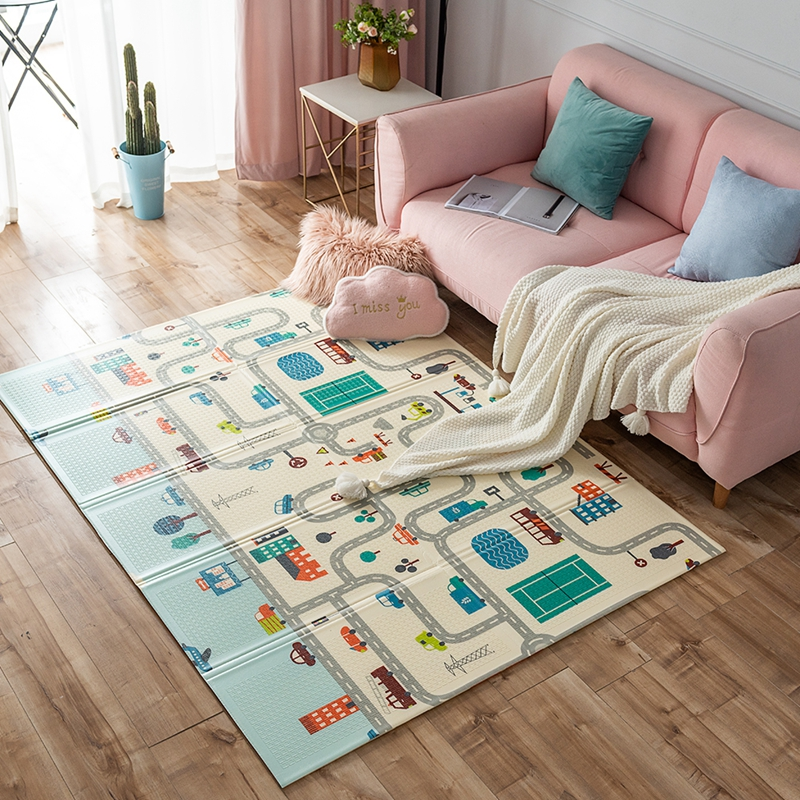 XPE Road Carpet For Kids Children Large Thickened Crawling Mat Baby Foam Mat Puzzle Carpet Waterproof Foldable Pad Game Blanket